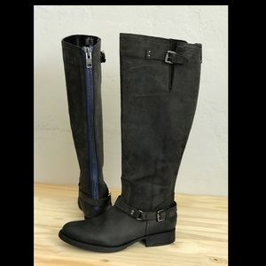 Leather Motorcycle Boots with contrast zipper grey
